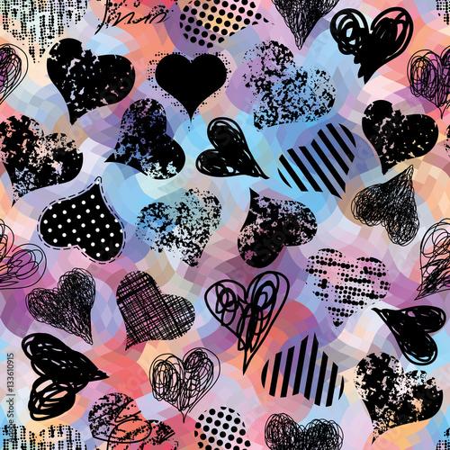 Cadres-photo bureau Empreintes Graphiques Grunge black hearts