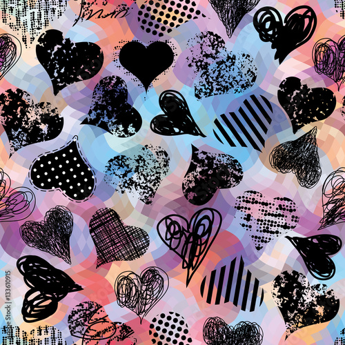 Printed kitchen splashbacks Watercolor Nature Grunge black hearts