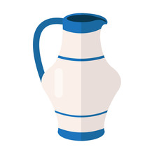 White Blue Jug Vector Icon Illustration. Water Jug Or Coffee-pot