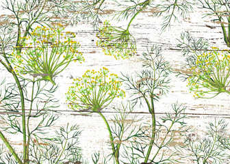 FototapetaWatercolor pattern of fennel plant