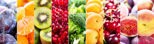 Foto op Plexiglas Vruchten collage of fresh fruits and vegetables