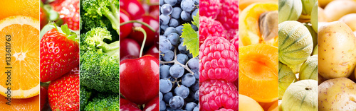Tuinposter Keuken collage of fresh fruits and vegetables