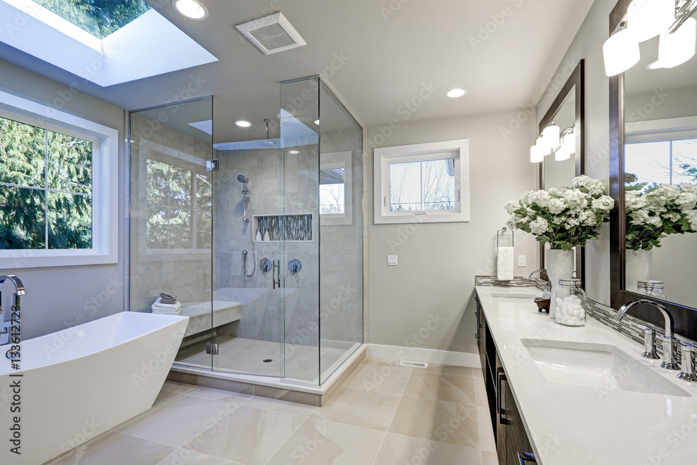 Fototapeta Spacious bathroom in gray tones with heated floors