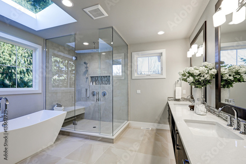 Superbe Spacious Bathroom In Gray Tones With Heated Floors