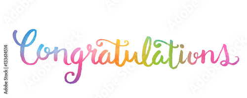 CONGRATULATIONS Banner in watercolour hand lettering Fototapete