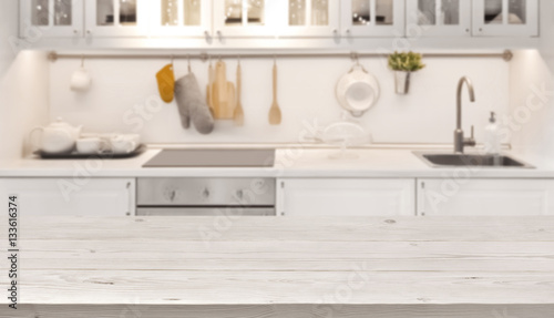 Autocollant pour porte Cuisine Kitchen table top and blur background of cooking zone interior