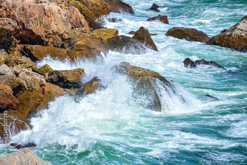 Foto op Aluminium Rivier Breaking waves on the rocky coast of the Black Sea at Tyulenovo, Bulgaria