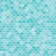 Abstract Geometric Background On The Marine Theme. Seamless Waves Blue Pattern Or Squama Texture.