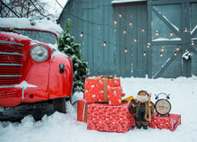 Gifts, Clock And A Red Retro Car In Snowy Winter Day