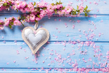 Tender Pink  Sakura Flowers And Decorative Heart On Blue Wooden