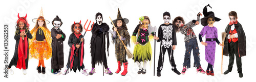 Foto Kids in Halloween costumes