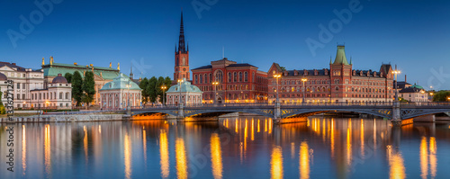 Fotobehang Stockholm Panorama of Stockholm. Panoramic image of Stockholm, Sweden during twilight blue hour.
