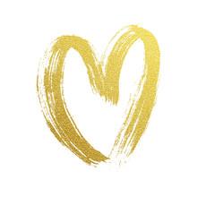 Valentine Gold Heart Hand Draw...