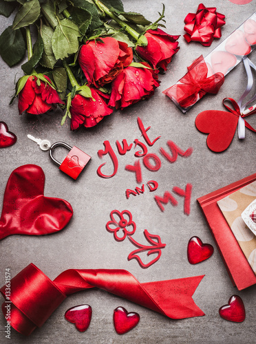 Valentines day greeting card with love symbols red decoration and valentines day greeting card with love symbols red decoration and roses and handwritten lettering just m4hsunfo