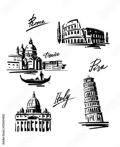 illustration set of Italy Canvas Print