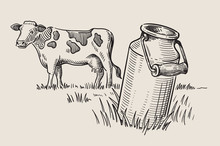 Milk Cans With Grass