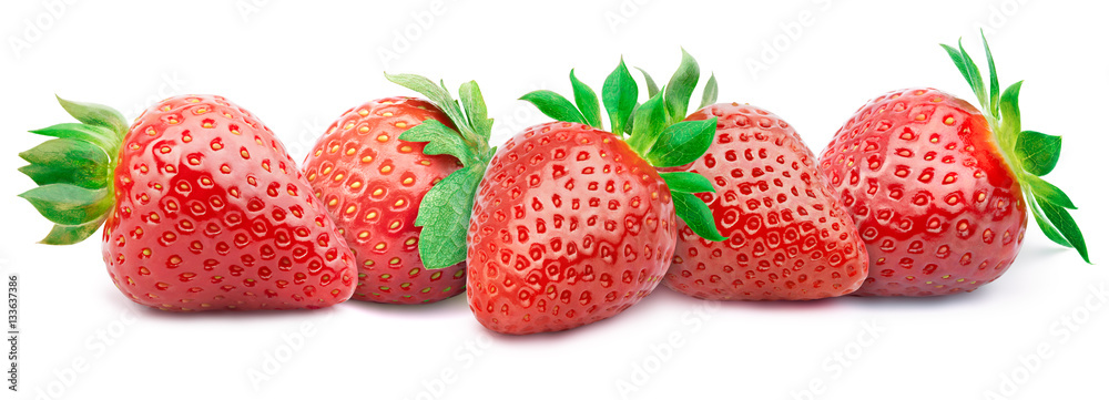 Fototapety, obrazy: Five ripe strawberries in a line with green leaves isolated on white background with clipping path