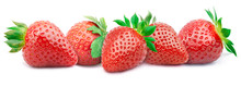Five Ripe Strawberries In A Line With Green Leaves Isolated On White Background With Clipping Path