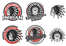 American Indian Round Logo, Badges And Emblems.