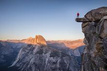 Hiker At Glacier Point At Sunset, Yosemite National Park, California, USA