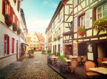 Street Of Petit France Medieval District Of Strasbourg,Alsace France, Toned