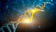 Digital Illustration DNA Structure In Blue Background