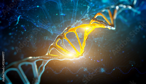 Papiers peints Spirale Digital illustration DNA structure in blue background