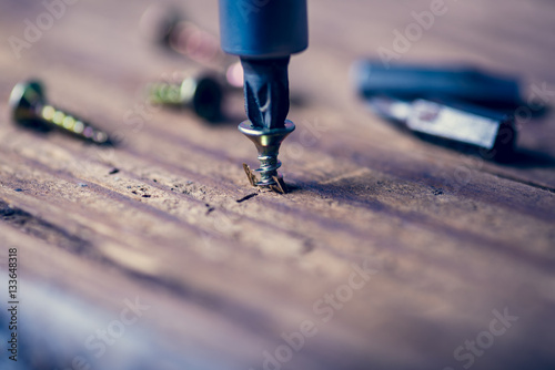 Obraz screw with a screwdriver - fototapety do salonu