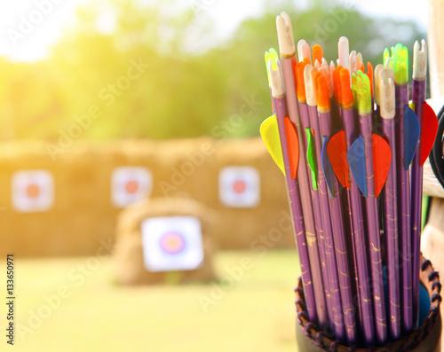 Fényképezés Arrows and target archery at the sunrise.