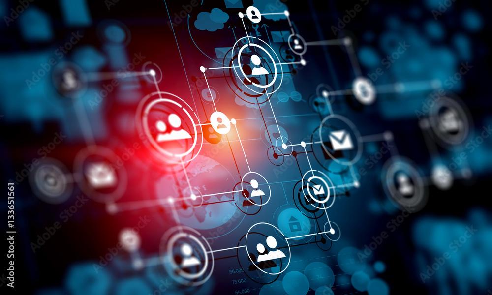Fototapety, obrazy: Social network background . Mixed media