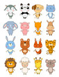 set of cute cartoon animals. vector