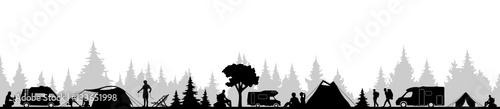 Obraz Camping im Wald - fototapety do salonu