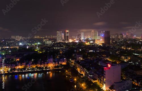 Staande foto Las Vegas Aerial view of Hanoi skyline at West Lake ( Ho Tay in Vietnamese), at twilight