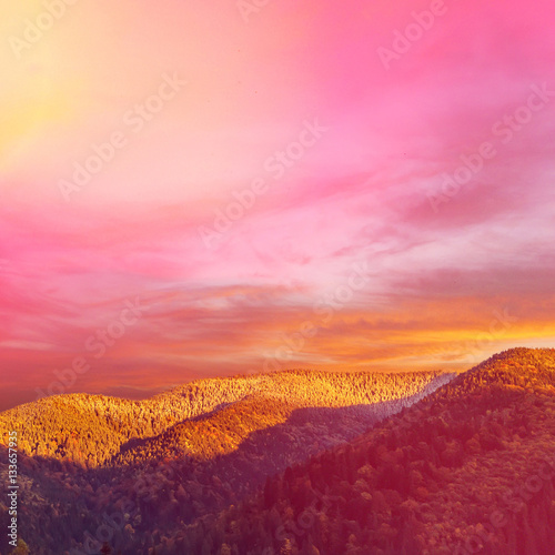 In de dag Candy roze Wonderful nature landscape. majestic sky over the mountain in morning. ammazing pink sunrise