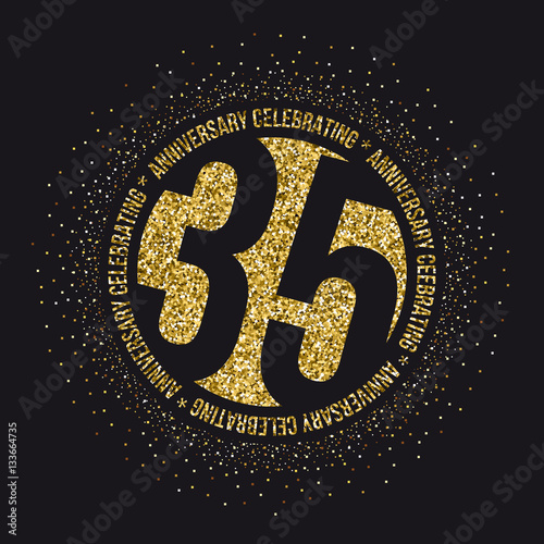 Thirty Five Years Anniversary Golden Celebration Logotype 35th