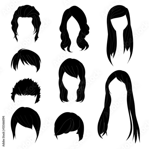 Collection Hairstyle for Man and Woman Black Hair Color Set 1. Vector illustration isolated on White Background #133666194