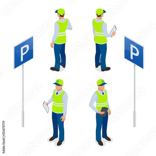 Canvas Print Isometric Parking Attendant
