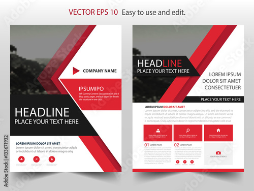 Red Black Triangle Vector Business Proposal Leaflet Brochure Flyer