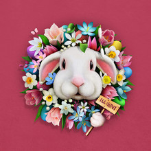 Festive Greeting Card Easter Egg Hunt With  Floral Wreath And Cute Bunny.