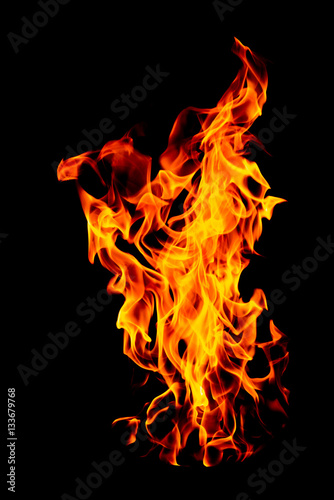 Fire flame isolated on black isolated background - Beautiful yel