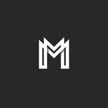 Letter M Logo Monogram, Overla...