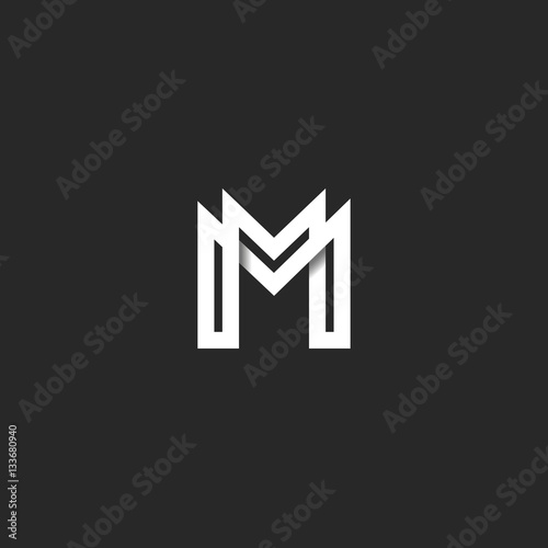 Poster Letter M logo monogram, overlapping line mark MM initials combination symbol moc