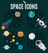 The planets of the solar system, astronaut, rocket on a background of outer space