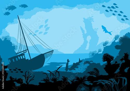 Carta da parati Sea underwater world with different animals