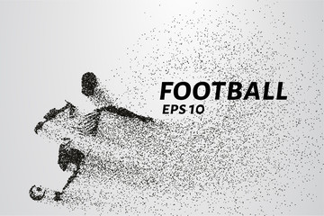 Fototapeta na wymiar Football of the particles carries in the wind. Silhouette of a football player from circles.