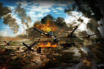 FototapetaBattle Tank in the war zone