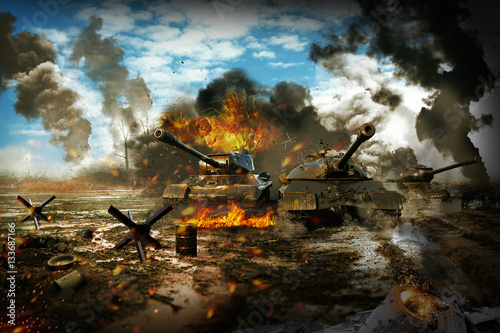 Fotografie, Obraz  Battle Tank in the war zone