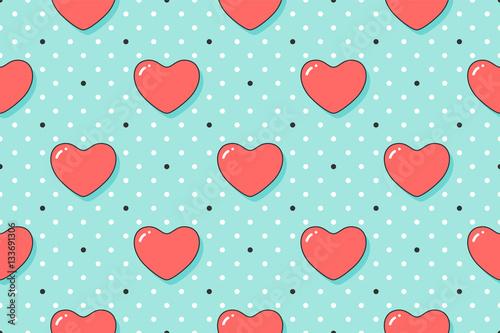 Materiał do szycia Wzór z czerwone serca na Walentynki, miłośników dzień lub ślubnej. Ręcznie rysowane projekt dla miłości związane tematy papier pakowy, Tapety, tła, karty z pozdrowieniami. Ilustracja wektorowa