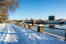 Snow Covered Portland Waterfront