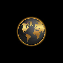 Black And Gold World Map Globe Illustration